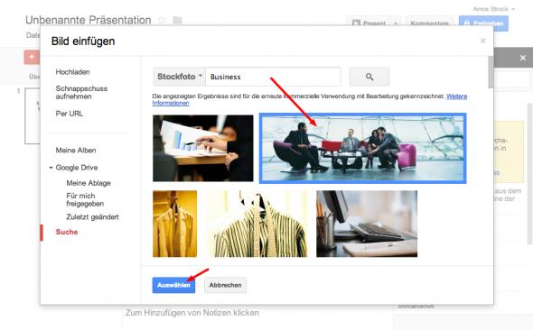 Google Drive Stock Fotos einfügen