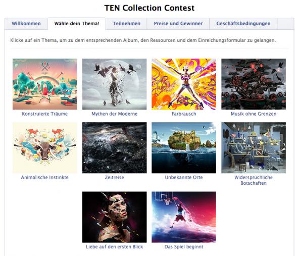 Themen des Fotolia TEN Contests (Screenshot Facebook)