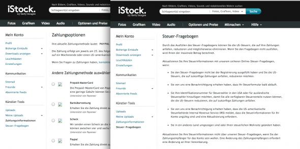 Neue iStock Formulare
